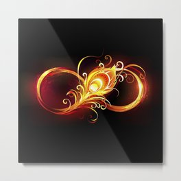 Fiery Infinity Symbol with Peacock Feather Metal Print