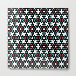 Red & Blue Rosette Pattern Metal Print
