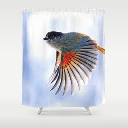 Wonderful Awesome Little Elegant Bird Flapping Wings Flying Close Up Ultra HD Shower Curtain