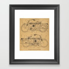 Motorcycle Diagram Framed Art Print