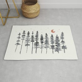 Nighttime Watercolor Forest Rug
