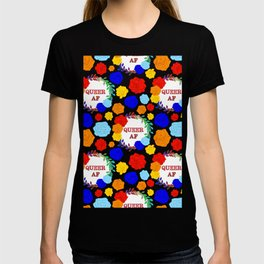 QUEER AF - A Rainbow Floral Pattern T-shirt