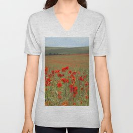 Poppy Field Unisex V-Neck
