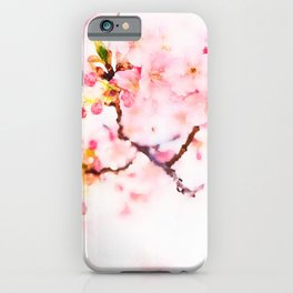 Cherry pink blossoms watercolor painting #8 iPhone Case