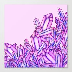 Pink purple watercolor paint crystals gem pattern Canvas Print