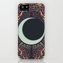 Botanical Leaves and Crescent Moon Pattern Design iPhone Case