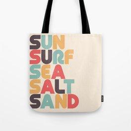 Retro Sun Surf Sea Salt Sand Typography Tote Bag
