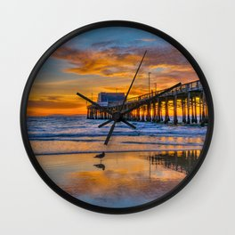 Low Tide Sunset Seagull at Newport Pier Wall Clock