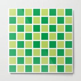 Modern Checkers (Spring Green) Metal Print