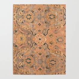 Persian Motif IV // 17th Century Ornate Rose Gold Silver Royal Blue Yellow Flowery Accent Rug Patter Poster