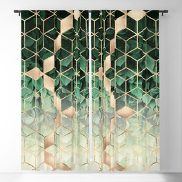 Leaves And Cubes Blackout Curtain