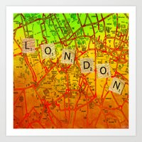 london map Art Prints featuring London Map by Joe Ganech