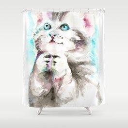 Happy Prayig Kitty - Cat Watercolour Shower Curtain