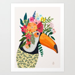 Toucan with flowers on head Art Print