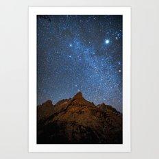 Starry Night: Brilliant Blue Stars Behind Rocky Mountain Art Print