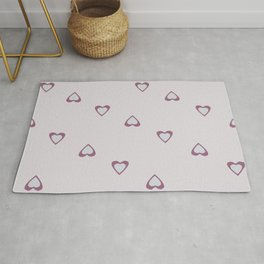 Scattered Love Hearts - Light Lilac Pink Rug
