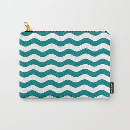 Wavy Stripes (Teal/White) Carry-All Pouch