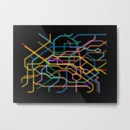 Paris Neon Metro Metal Print