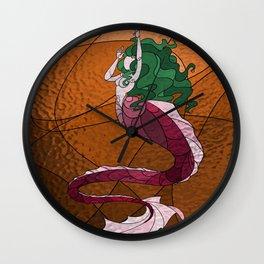 Primeval Mermaid (orange) Wall Clock