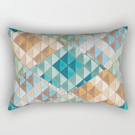 Triangle Patter No.15 Shifting Teal and Yellow Rectangular Pillow