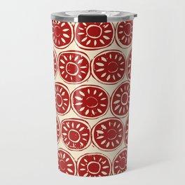 flower block red ivory Travel Mug