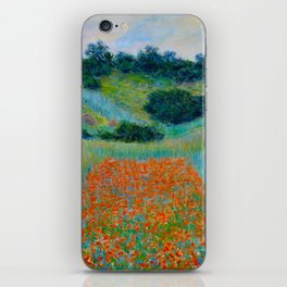 Claude Monet Impressionist Landscape Oil Painting Poppy Field in a Hollow near Giverny iPhone Skin