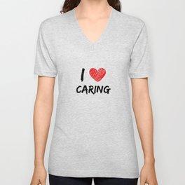 I Love Caring Unisex V-Neck