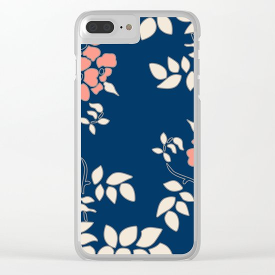 FLORAL IN BLUE AND CORAL Clear iPhone Case
