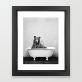 Brown Bear Bathtub Framed Art Print