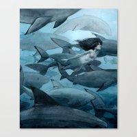 shark Canvas Prints featuring Shark by Renee Nault