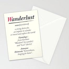 Wanderlust, dictionary definition, word meaning, travel the world, go on adventures Stationery Cards