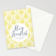 Stay Bookish vintage yellow background Stationery Cards
