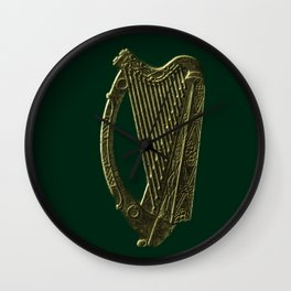 Th Green and Gold Irish Harp Wall Clock