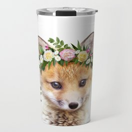 Baby Fox With Flower Crown, Baby Animals Art Print By Synplus Travel Mug