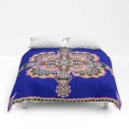 Bee Mandala Blue Comforters