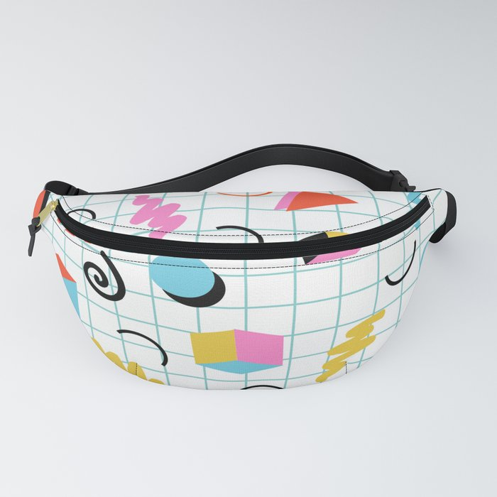 Clutch - memphis 80s style retro throwback cubes geometric triangles 1980's pattern Fanny Pack
