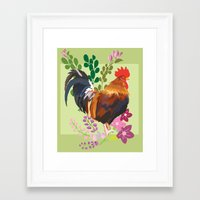 rooster Framed Art Prints featuring rooster by Caracheng