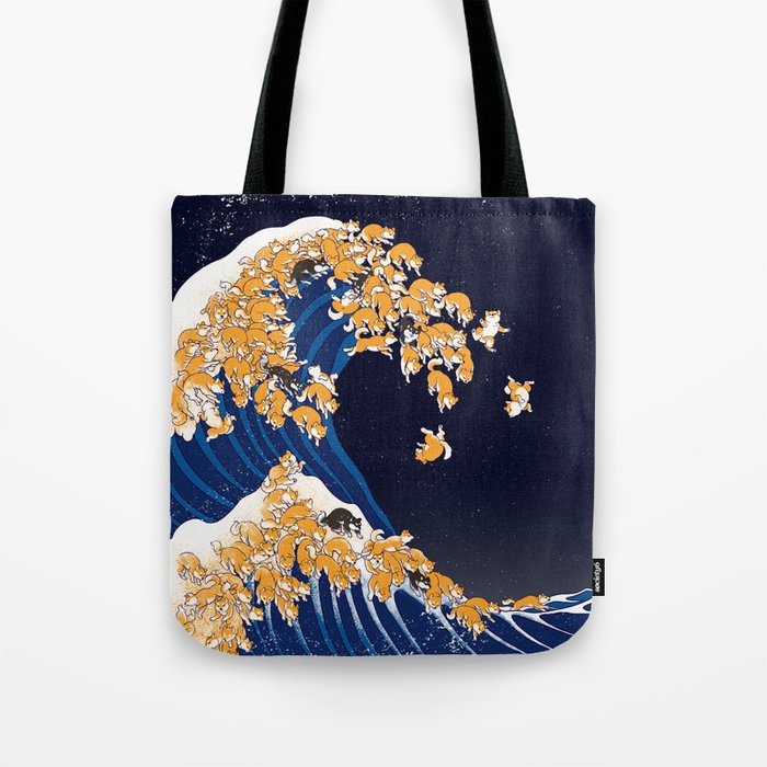 Shiba Inu The Great Wave in Night Tote Bag
