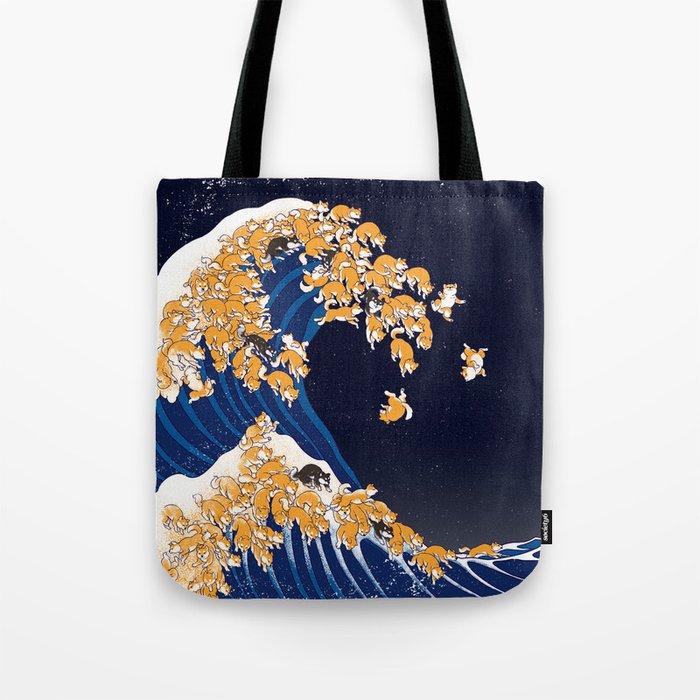 Shiba Inu The Great Wave in Night Umhängetasche