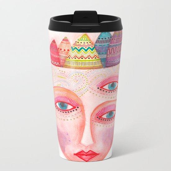 mask - girl with the most beautiful eyes Metal Travel Mug