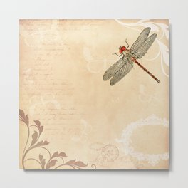 Dragonfly on old handwritten and floral vintage background Metal Print