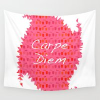 carpe diem Wall Tapestries featuring Carpe Diem by Yasmina Baggili