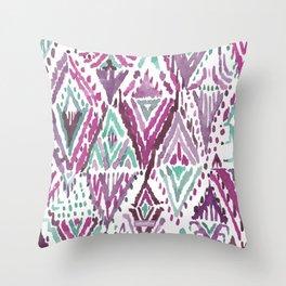 PLUM TRIUMPHANT TRIBAL Ikat Watercolor Throw Pillow