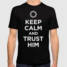 Keep Calm & Trust Him 2X-LARGE Black Mens Fitted Tee