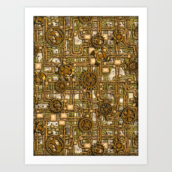 steampunk panel gears and pipes brass art print by bonniephantasm