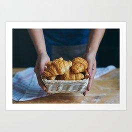 Croissant in a wicker basket Art Print