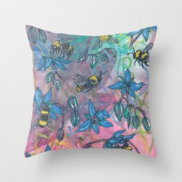Bees and Borage Throw Pillow