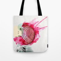 bright Tote Bags featuring Bright Pink  by Jenny Liz Rome
