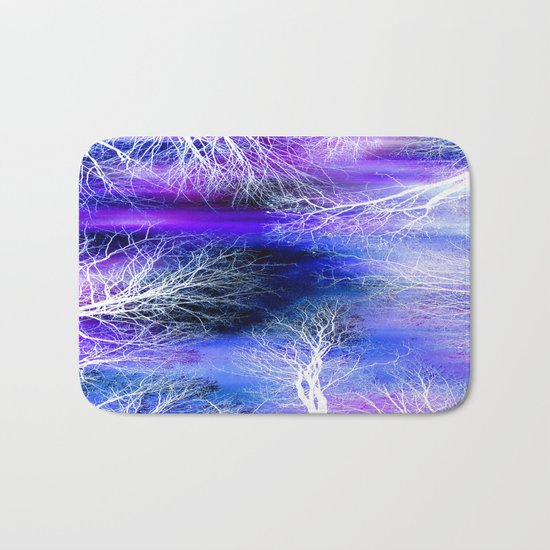 Midnight Trees Purple Blue Bath Mat