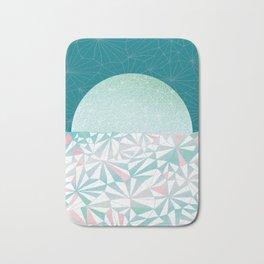 Geometric Sunrise - Teal and Pink Bath Mat